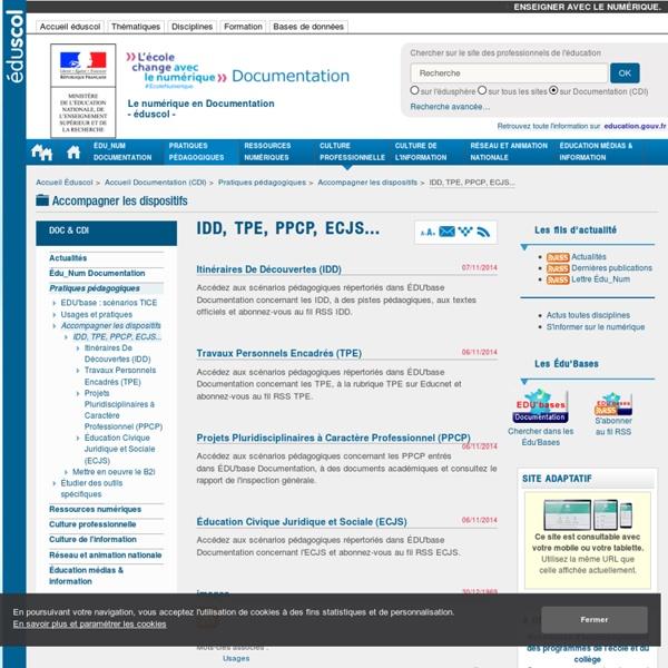 IDD, TPE, PPCP, ECJS... — Documentation (CDI)