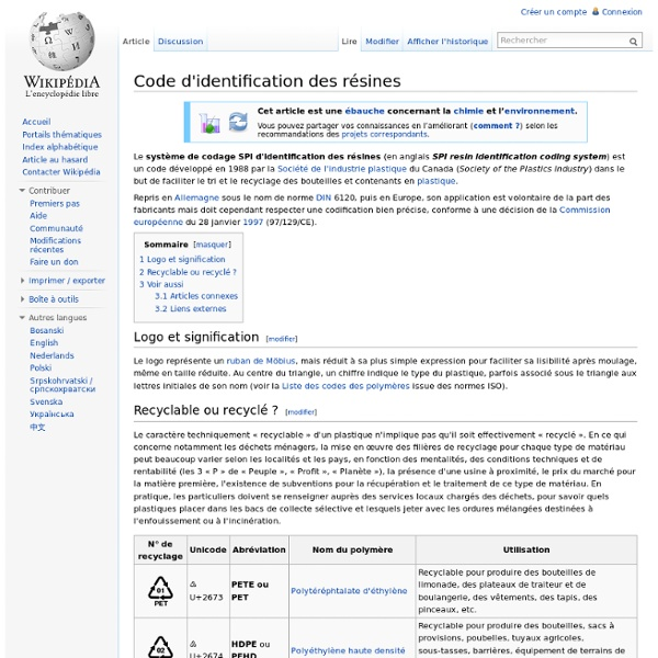 Code d'identification des résines