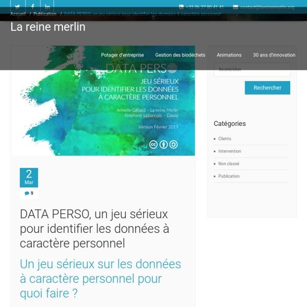 DATA PERSO, un jeu sérieux pour identifier les données à caractère personnel – La reine Merlin