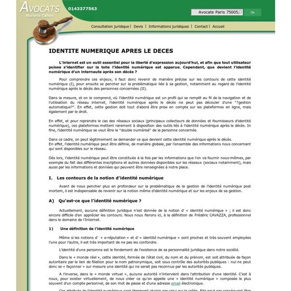 IDENTITE NUMERIQUE APRES LE DECES