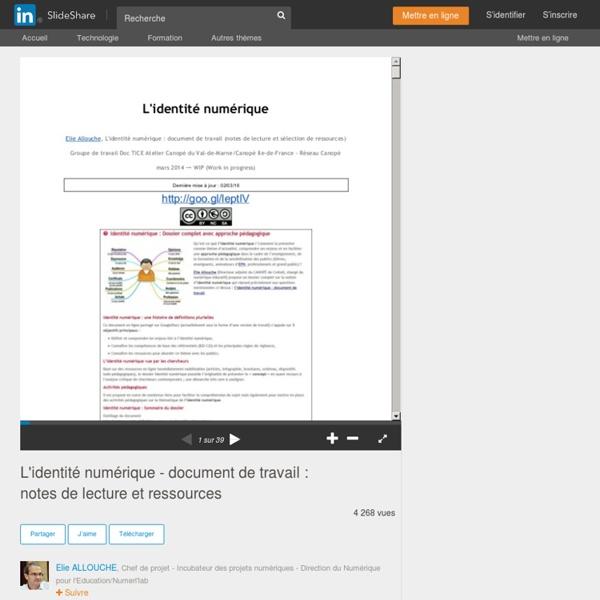 L'identité numérique - document de travail : notes de lecture et ress…