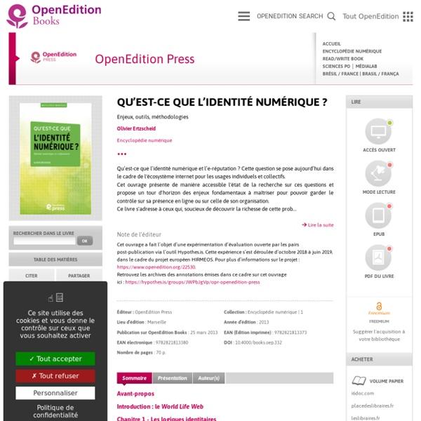 Qu'est-ce que l'identité numérique ? - OpenEdition Press