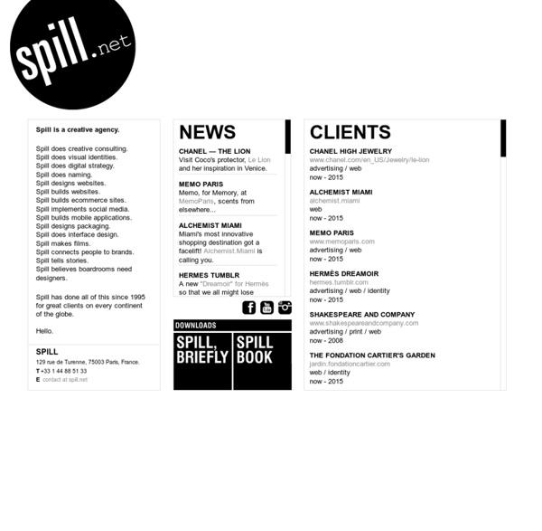 Spill - design agency - l'Agence Spill - identity, digital communication - websites