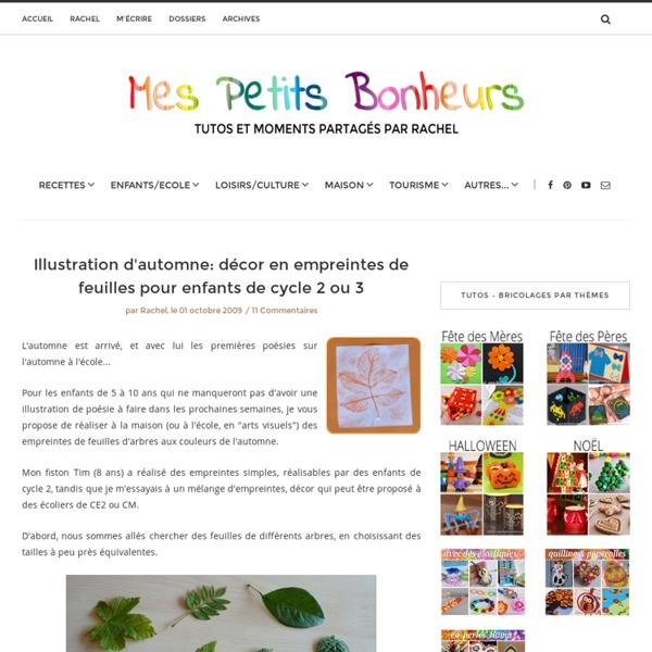 Illustration d'automne: décor en empreintes de feuilles pour enfants de cycle 2 ou 3
