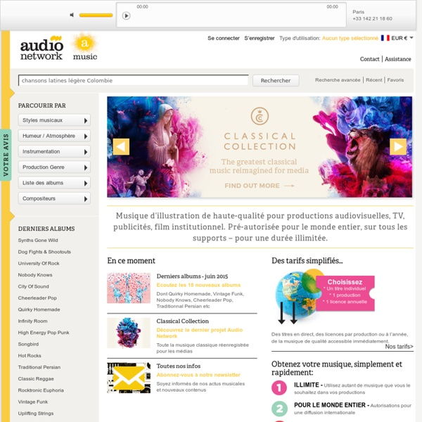 Bienvenue chez A-Music - Musique d'illustration - Audio Network - écoutez, achetez, téléchargez