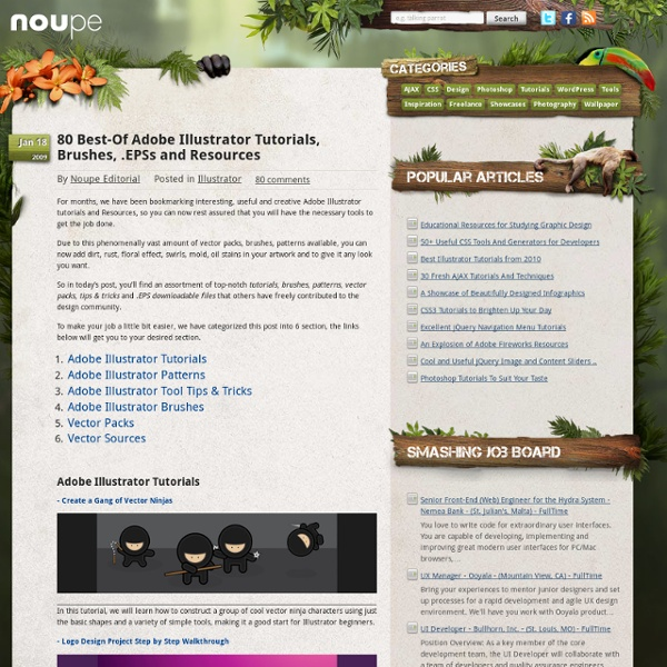 80 Best-Of Adobe Illustrator Tutorials, Brushes, .EPSs and Resources - Noupe Design Blog