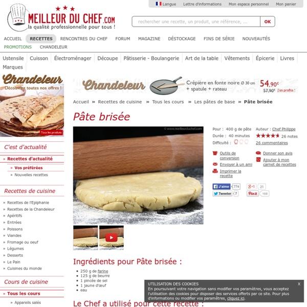 Pâte brisée - Recette de cuisine illustrée - Pour vos tartes et vos quiches