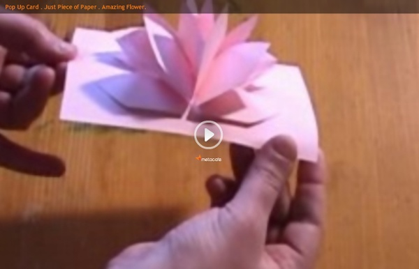 Pop Up Card . Just Piece of Paper . Amazing Flower.