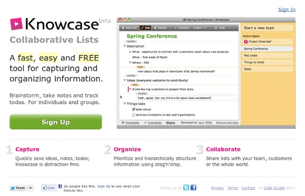 Collaborative lists, collect and organize information: Knowcase