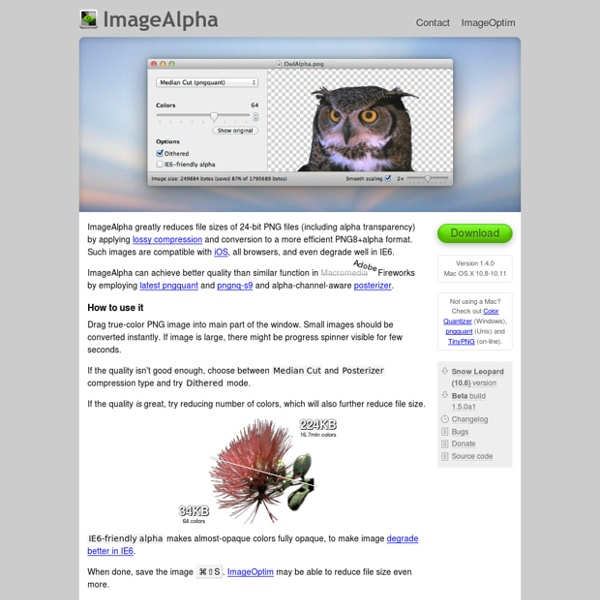 ImageAlpha — lossy compression for 24-bit PNG images (like JPEG with alpha channel!)