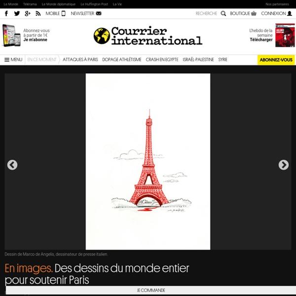 En images. Des dessins du monde entier pour soutenir Paris