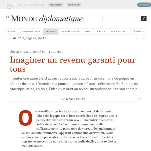 Imaginer un revenu garanti pour tous, par Mona Chollet