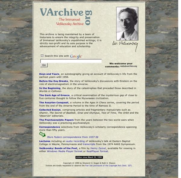 The Immanuel Velikovsky Archive