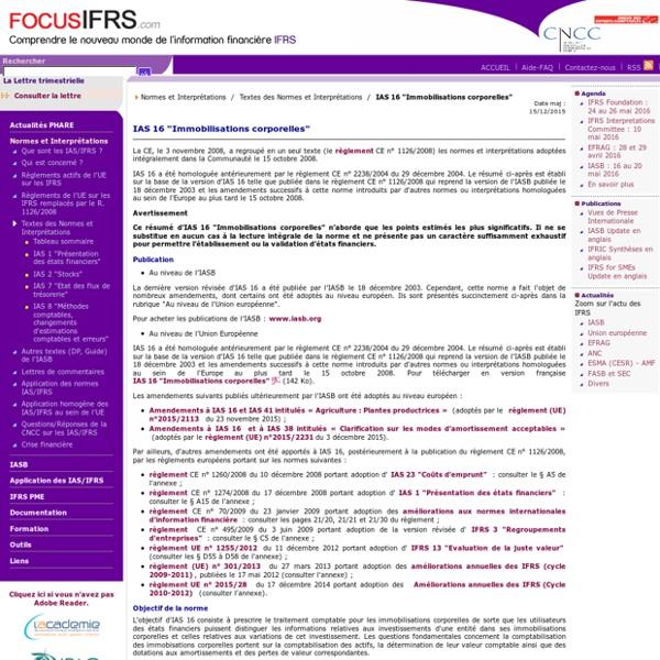 """IAS 16 """"Immobilisations corporelles"""" / Textes des Normes et Interprétations / Normes et Interprétations"""