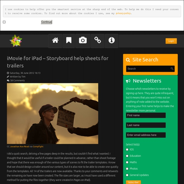 IMovie for iPad – Storyboard help sheets for trailers