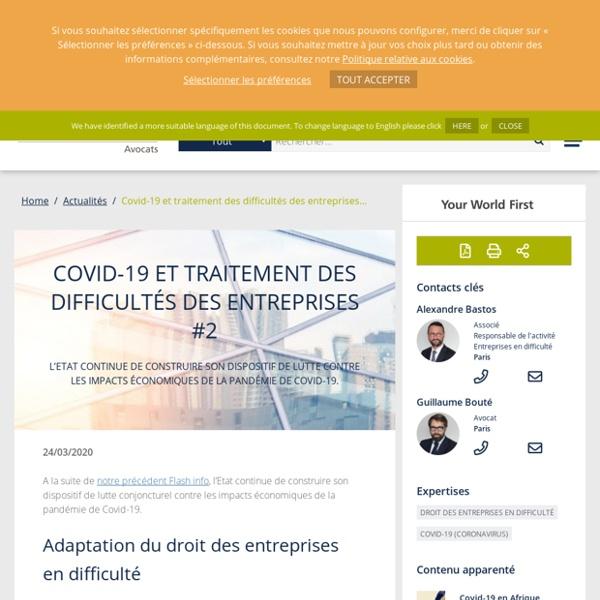 Covid-19 : quel impact pour les entreprises en difficulté ? #2