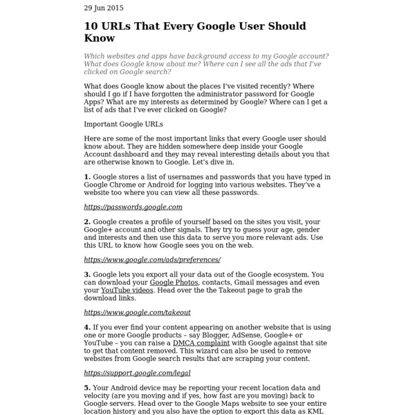 10 Important Google URLs That Every Google User Should Know