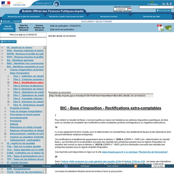 Base d'imposition - Rectifications extra-comptables