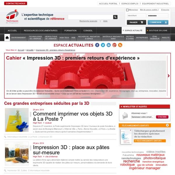 Impression 3D : premiers retours d'expérience