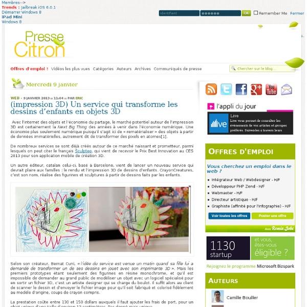 Un service d'impression 3D qui transforme les dessins d'enfants en objets matériels