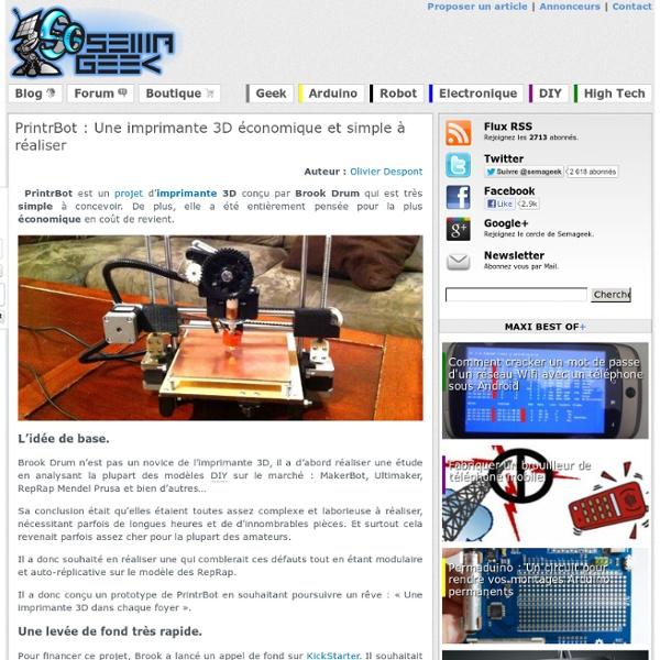 PrintrBot : Une imprimante 3D économique et simple à réaliser
