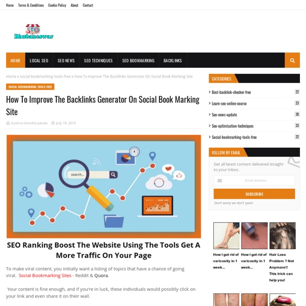 How To Improve The Backlinks Generator On Social Book Marking Site