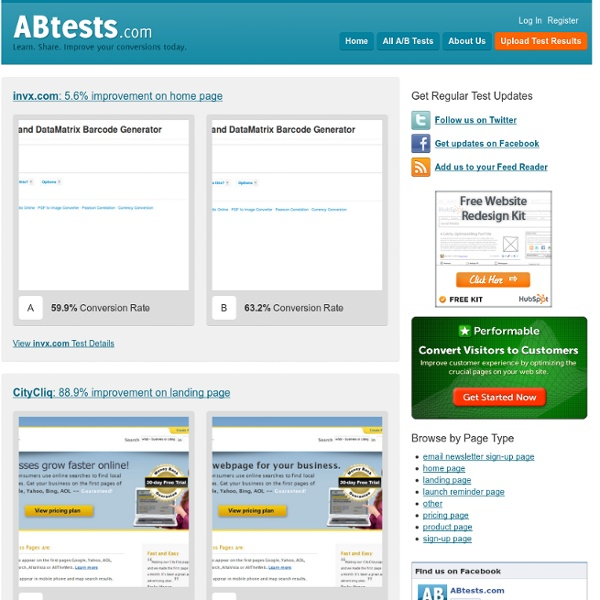 ABtests.com - Share A/B Testing Results. Improve your conversion today.
