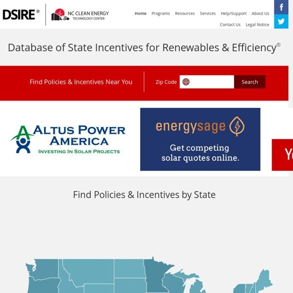 DSIRE: Database of Energy Efficiency, Renewable Energy Solar Incentives, Rebates, Programs, Policy