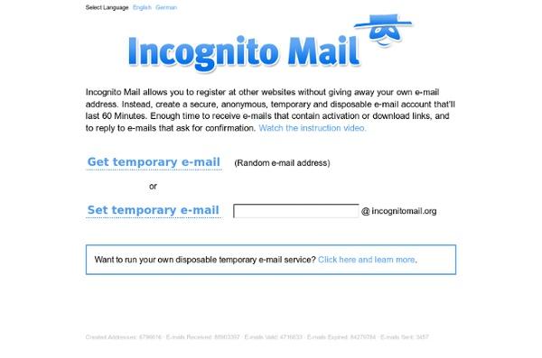 Incognito Mail - Direcciones de correo electrónico temporales