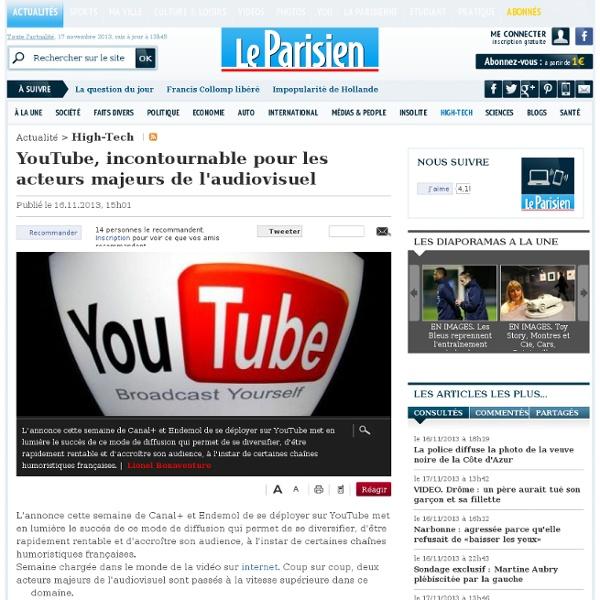 YouTube, incontournable pour les acteurs majeurs de l'audiovisuel