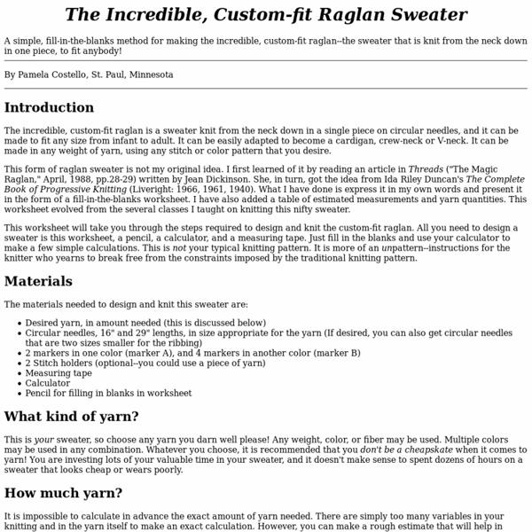 The Incredible, Custom-fit Raglan Sweater