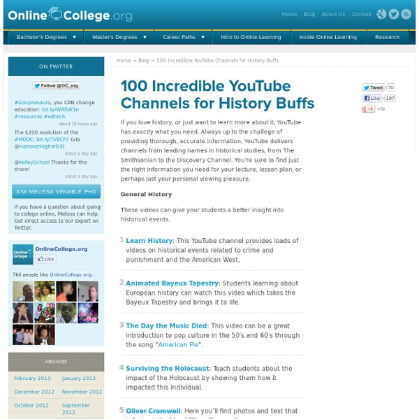 100 Incredible YouTube Channels for History Buffs » Online College Search - Your Accredited Online Degree Directory