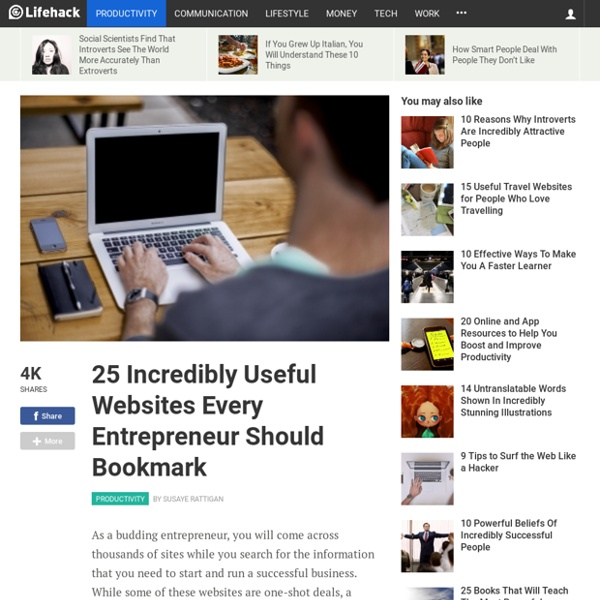 25 Incredibly Useful Websites Every Entrepreneur Should Bookmark