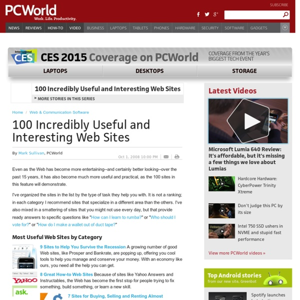 100 Incredibly Useful and Interesting Web Sites