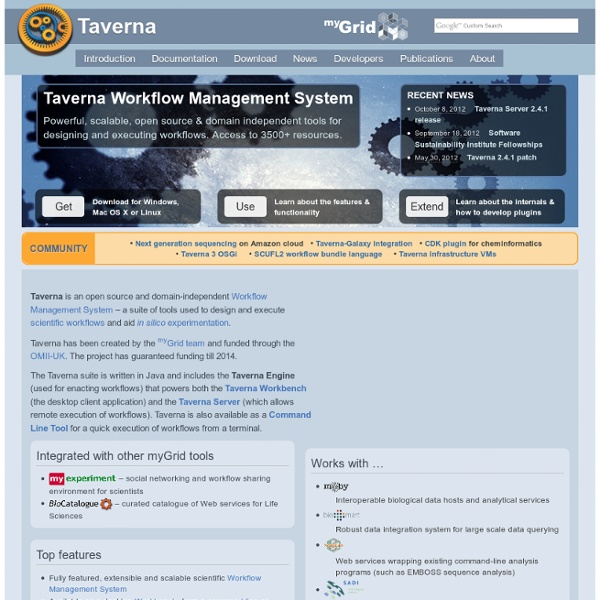 Taverna - open source and domain independent Workflow Management System