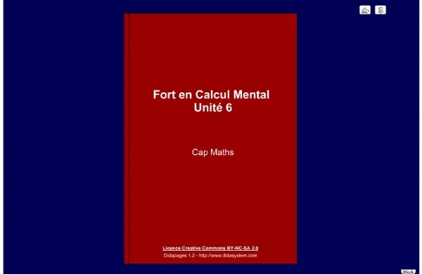 Calcul mental - unité 6