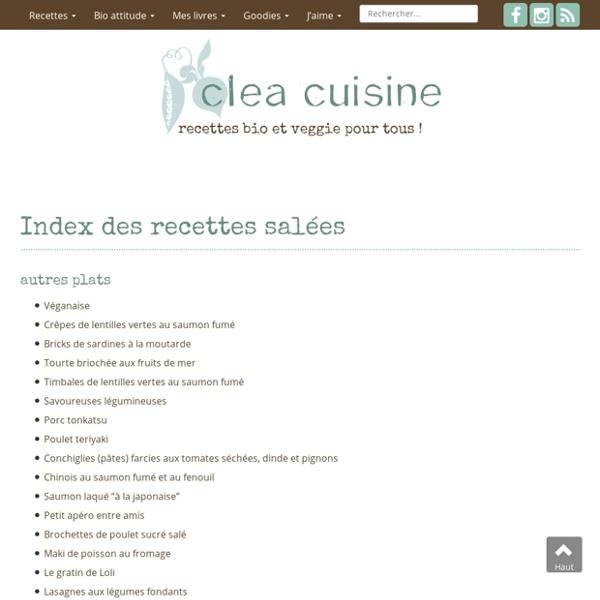 Index des recettes salées