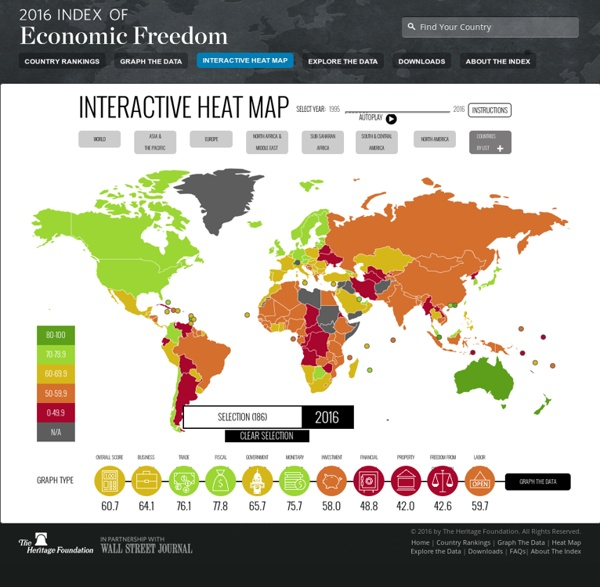 2015 World Economic Freedom Levels: Heat Map for Continents and Countries