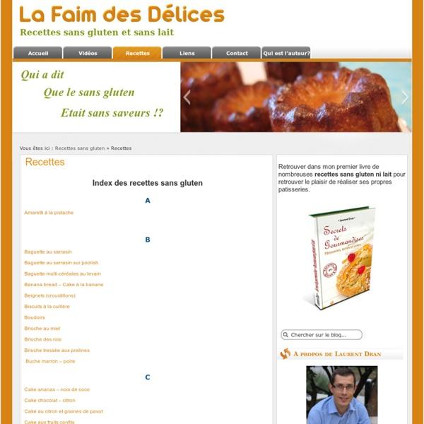 Index des recettes sans gluten