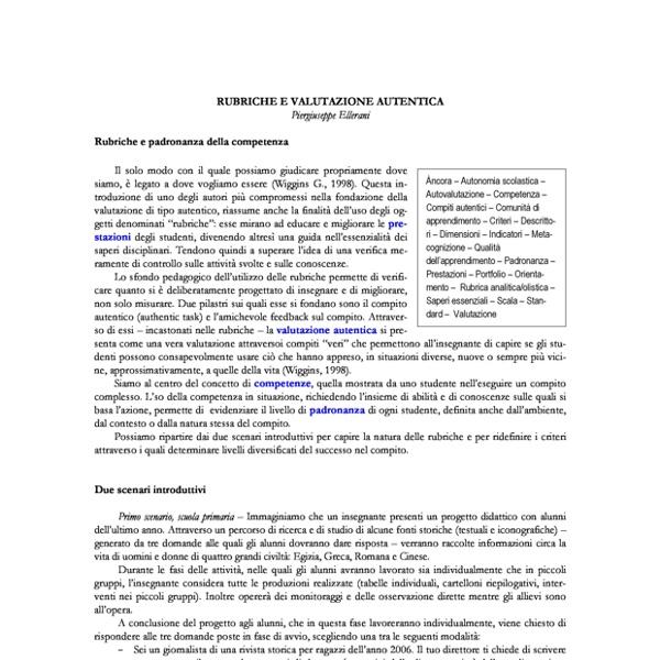 Giuseppe Ellerani: Rubriche e valutazione autentica
