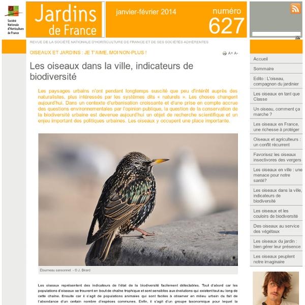 Les oiseaux dans la ville, indicateurs de biodiversité - Jardins de France