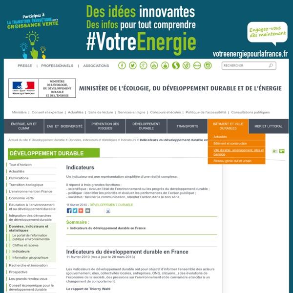 Indicateurs du développement durable en France