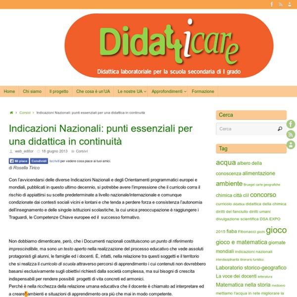 Indicazioni Nazionali: punti essenziali per una didattica in continuità –
