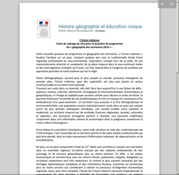 """Texte de cadrage du jury : """"L'Union indienne"""""""