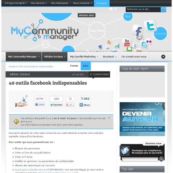 40 outils Facebook indispensables