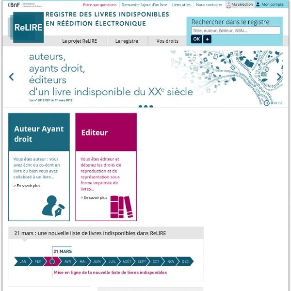 ReLIRE : Registre des Livres Indisponibles en Réédition Électronique