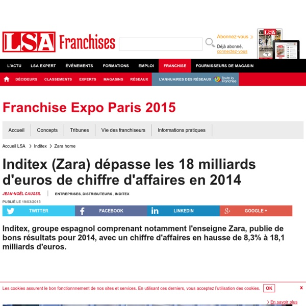 Inditex (Zara) dépasse les 18 milliards... - Textile, habillement