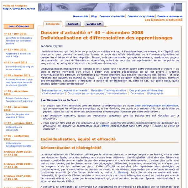 Dossier d'actualité – Individualisation et différenciation des apprentissages – décembre 2008