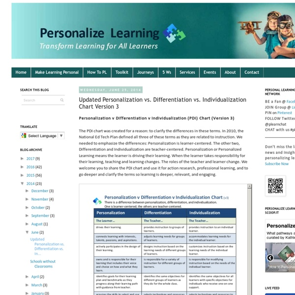 Updated Personalization vs. Differentiation vs. Individualization Chart Version 3