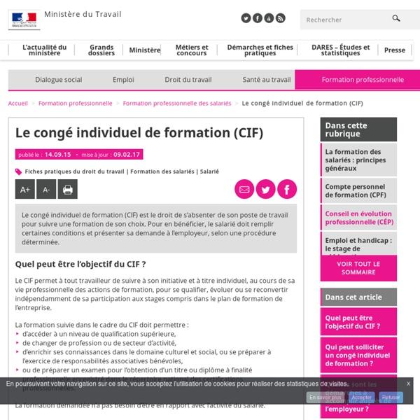 Le congé individuel de formation (CIF)